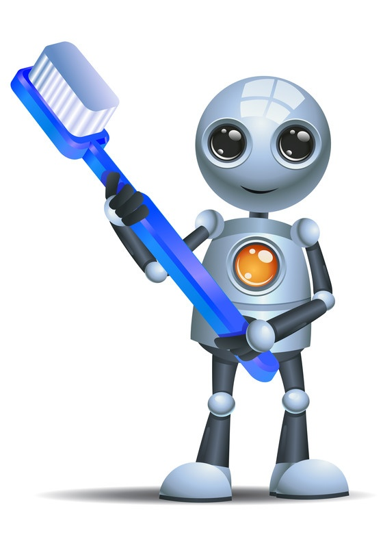 Cyber hygiene - robot with toothbrush - 24by7security