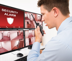 Security guards may monitor cameras, screen visitors, and patrol the premises
