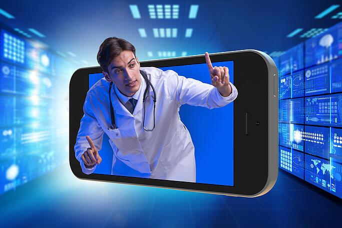 telehealth video tech tools and hipaa compliance blog by 24By7Security Doctor coming out of smartphone