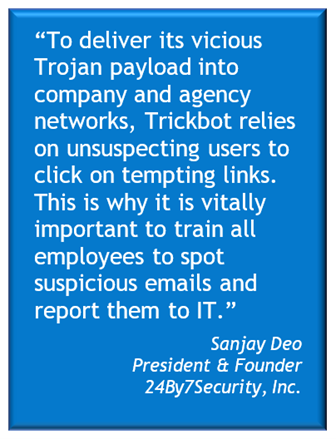 To thwart TrickBot, which commonly relies on spearphishing ploys, employee training is crucial.