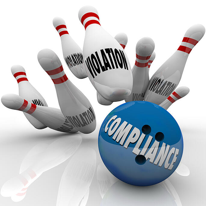 bowling ball and pins - compliance violation hipaa 24by7security
